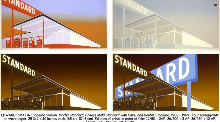 ED RUSCHA Standard Station, Mocha Standard, Cheese MoldStandard with Olive, and Double Standard,1966 - 1969Four screenprints on wove paper25 3/4 × 40 inches each(65.4 × 101.6 cm)Editions of prints in order of title:Edition of 50, 100, 150 , and 40